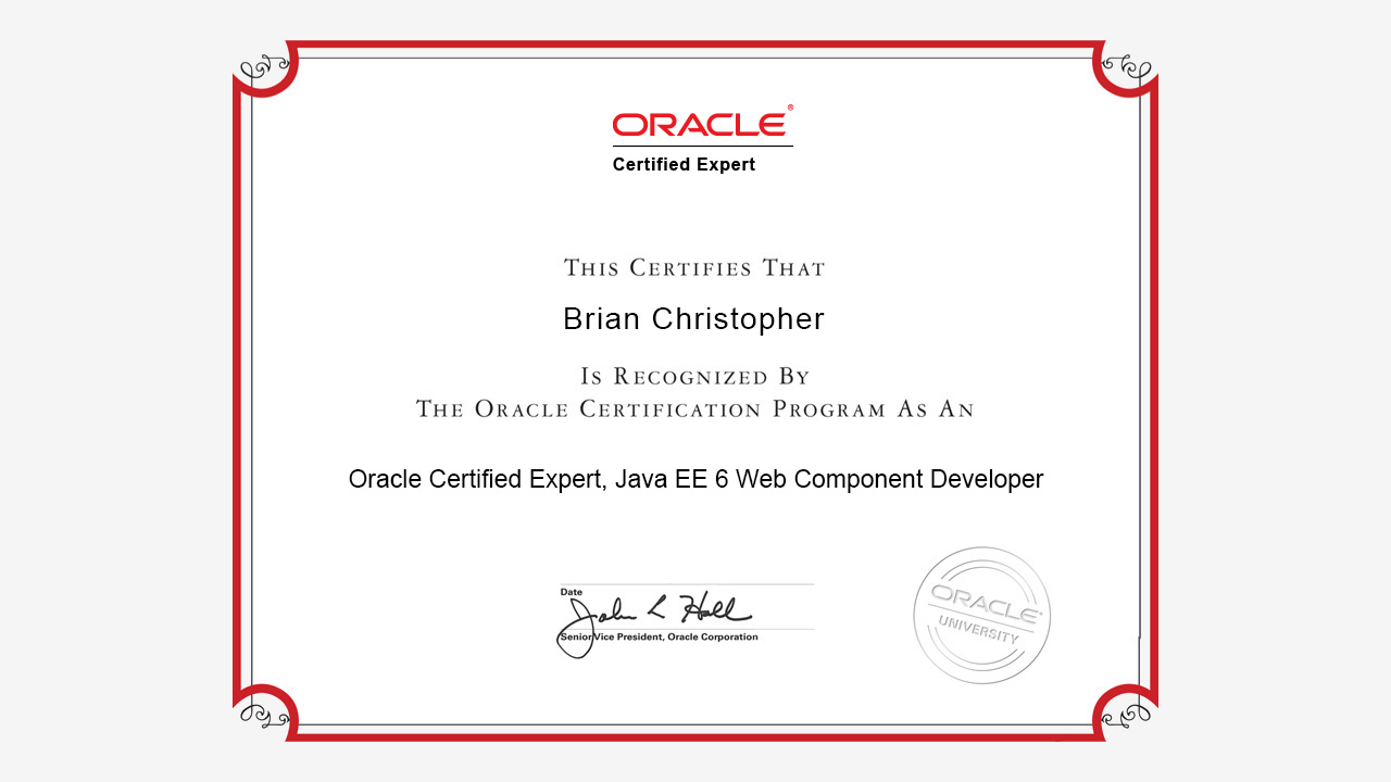 Sample Oracle Certified Expert Java EE 6 Web Component Developer Certificate