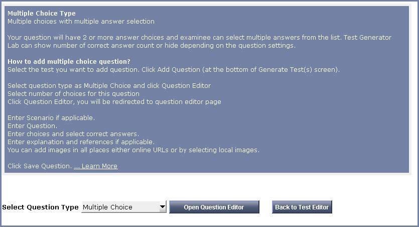 Screenshots of Test Generator Lab - Multiple Choice